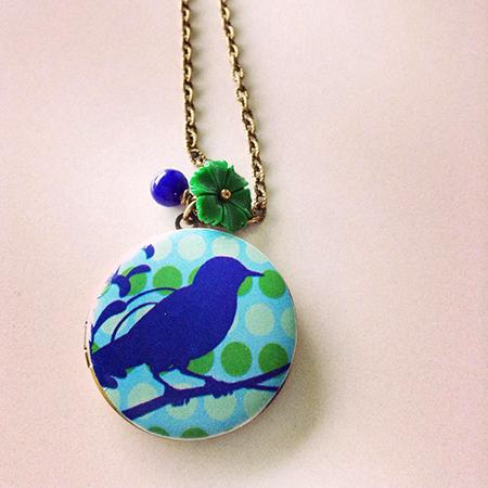 Blauwe vogel fotomedaillon