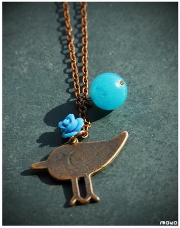 Koperen blauwe vogel