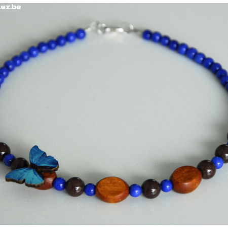 lapis lazuli vlinderhalsketting