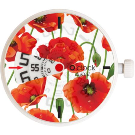 o clock digital flowers red