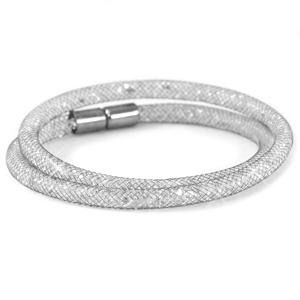 Antraciet dubbele armband met zilveren kristal facetten