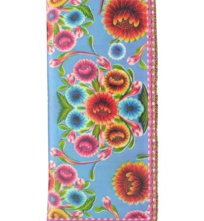 Mlavi grote blauwe portemonnee met bloemen - vegan leather