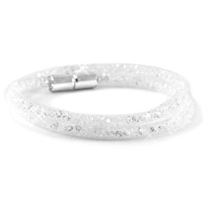 dubbele armband met witte kristal facetten