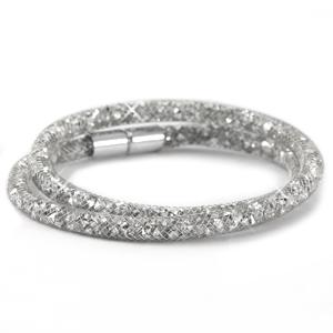 dubbele armband met zilveren kristal facetten