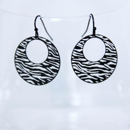 ronde oorbellen met zebraprint