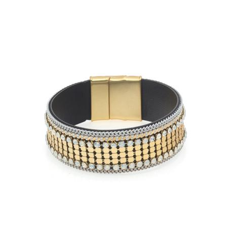 Goudkleurige armband met opal strass steentjes biba