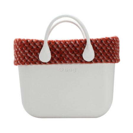Omslag o'bag bobble stitch wol oranje/rood