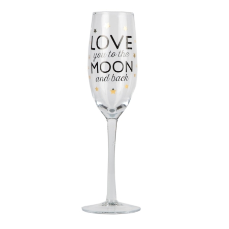 champagneglas love you to the moon and back