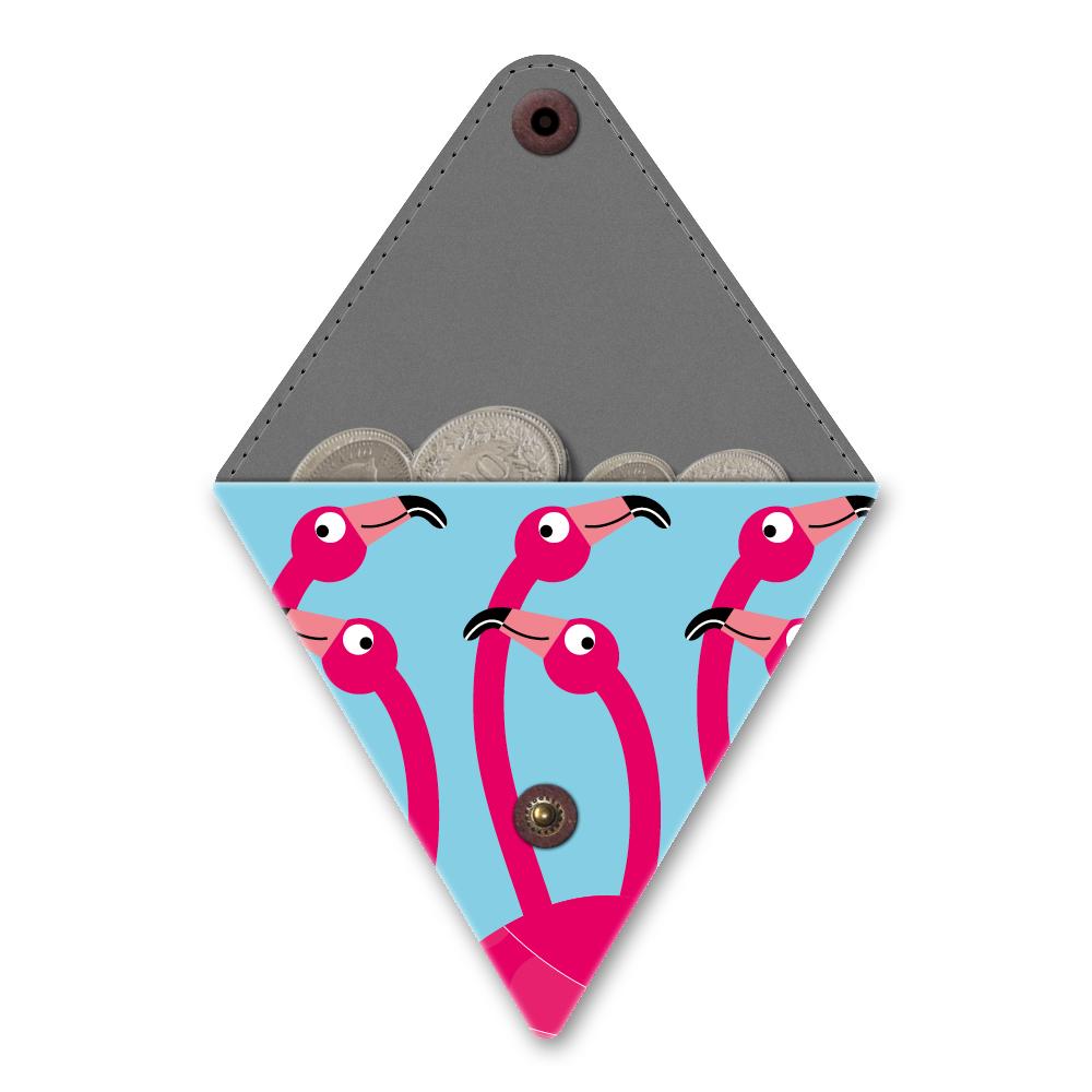 Papieren driehoek portemonneetje flamingo party 1