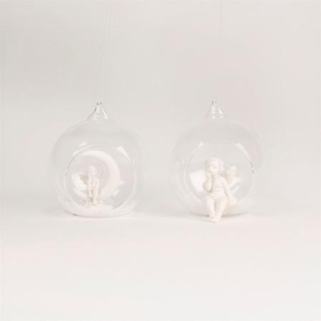 Open kerstbal met engeltjes