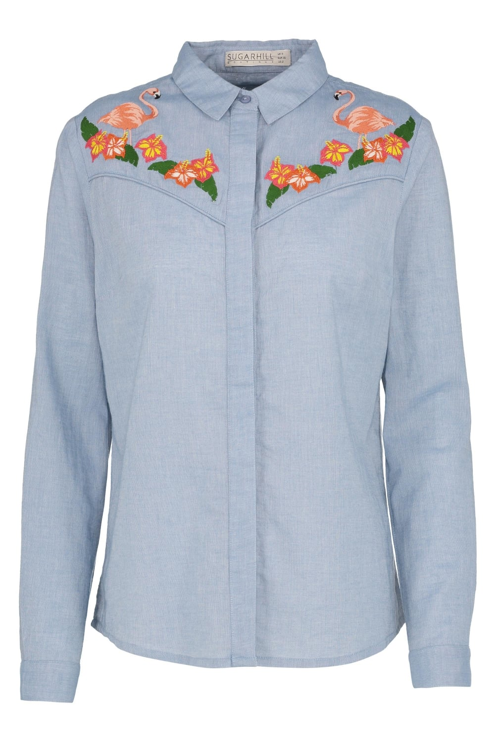 Tropical Flamingo Embroidered Cowboy Shirt4