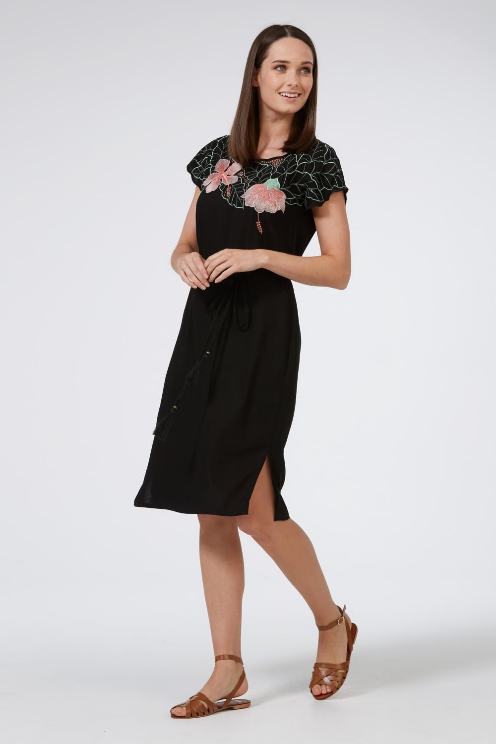 Tropical flower embroidered dress