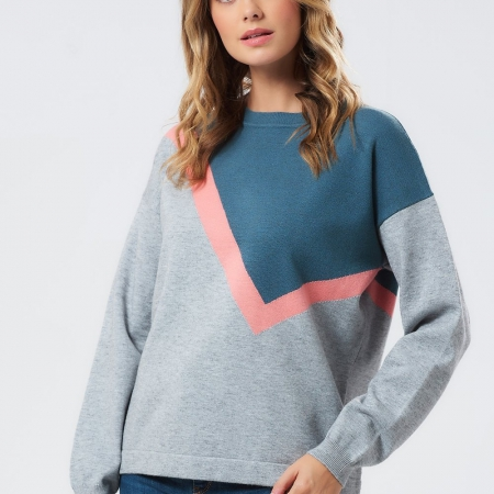 Roxy Grey Colour Block Boxy Sweater