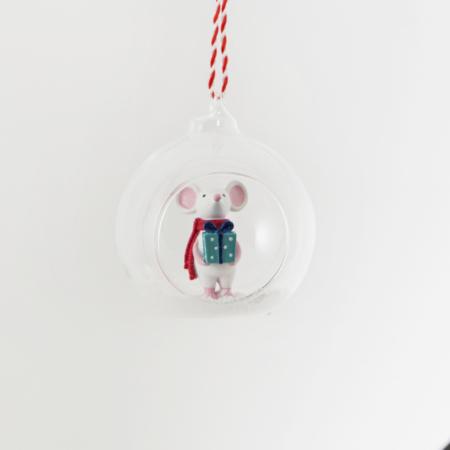 Open kerstbal met muis