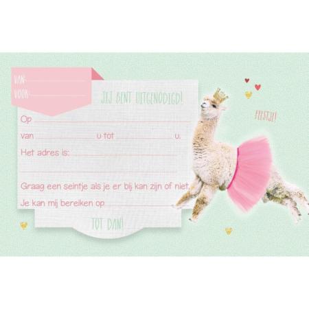 UITN012 Set van 5 uitnodigingen + omslag Lama