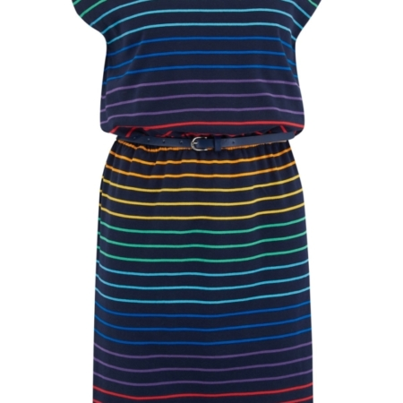 Jurk Hetty Triple Rainbow stripe b