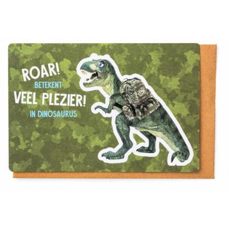 Kampkaartje Roar! betekent veel plezier in dinosaurus