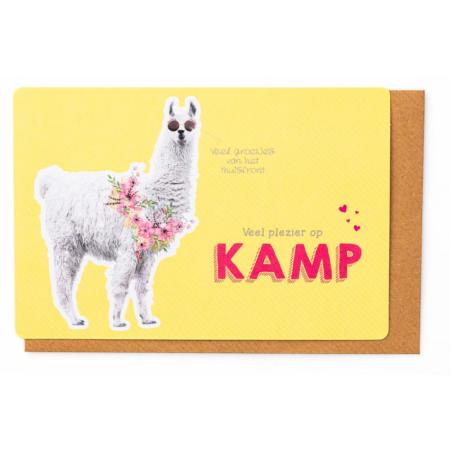 Kampkaartje veel plezier op kamp gele lama
