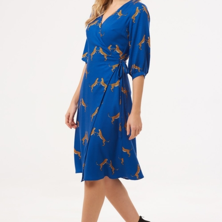 Aisha Dancing Cheetahs Wrap Dress