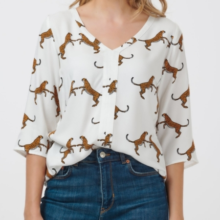 Anthea Dancing Cheetahs V-Neck Top3