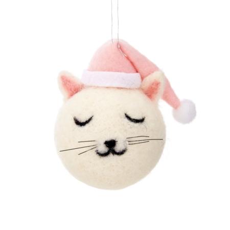 Kerstbal kattenkop in vilt1