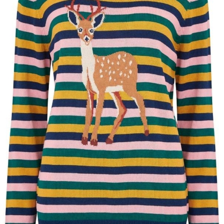 Rita Deer To Me Stripe Sweater3