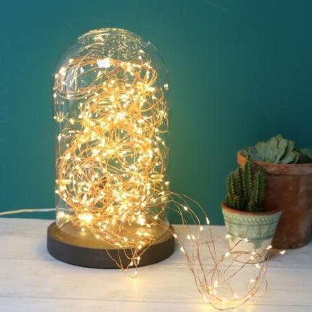 Tafellamp met helderen glazen kap