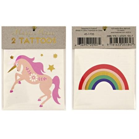 Tattoo eenhoorn en regenboog