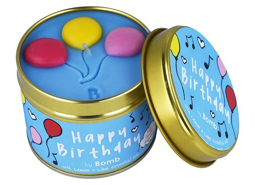 Happy birthday tinned candle