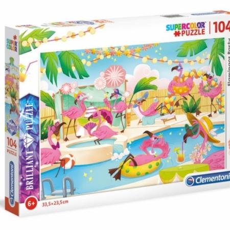 Clementoni Brilliant Puzzel 104 stukjes Flamingos