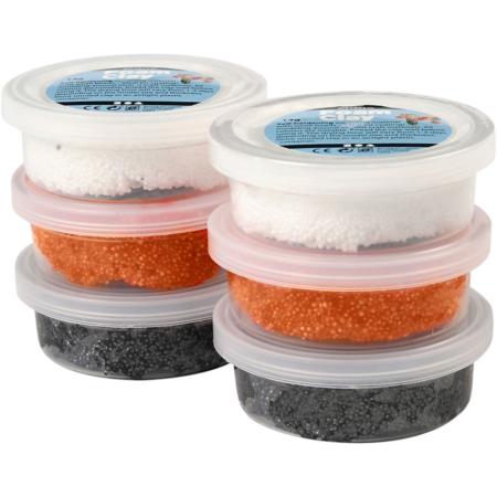 Foam Clay®, Oranje,glow In The Dark,zwart, 14 gr, 6 Doosje