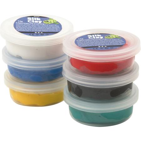 Silk Clay®, Zwart,blauw,groen,geel,wit,rood, 14 gr, 6 Doosje
