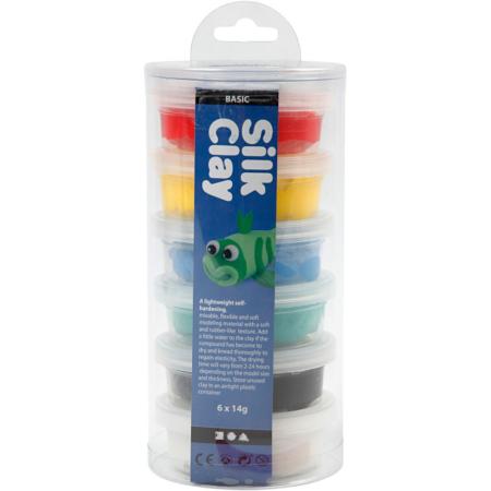 Silk Clay®, Zwart,blauw,groen,geel,wit,rood, 14 gr, 6 Doosje1