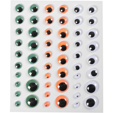 Wiebelogen, 6+8+10+12+15 mm, Groen,wit,oranje, 1 Vel