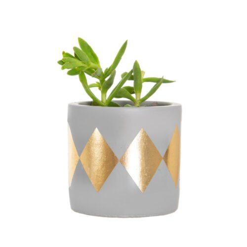 bloempot grijs met gouden ruiten 2