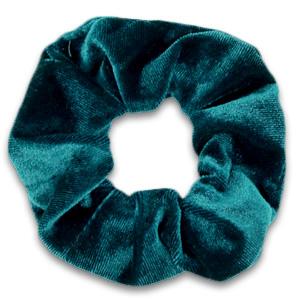 Scrunchies haarelastiek velvet Peacock green