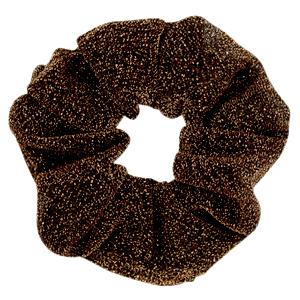 Scrunchies haarelastiek glitter golden brown