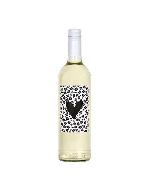 Fles etiket met hart en panterprint