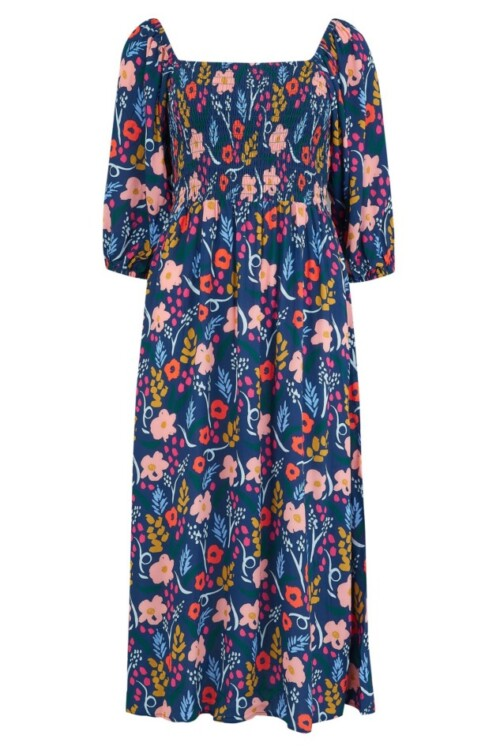 Raquel Shirred Dress - Blue, geschilderde bloemetjes