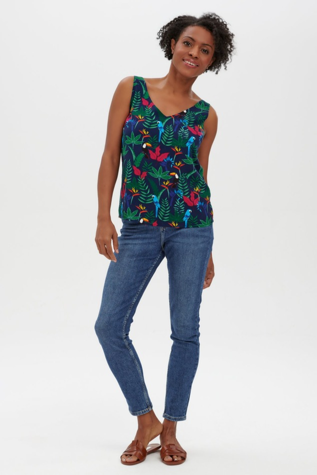 Romy Strappy Top - Navy, Birds In Paradise4