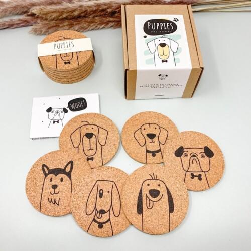 Onderzetters kurk - honden puppies 1