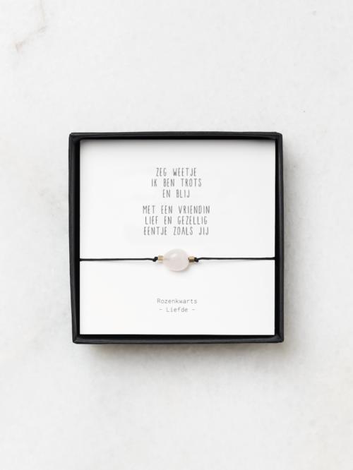 Armbandje rozenkwarts en gedichtje vriendin