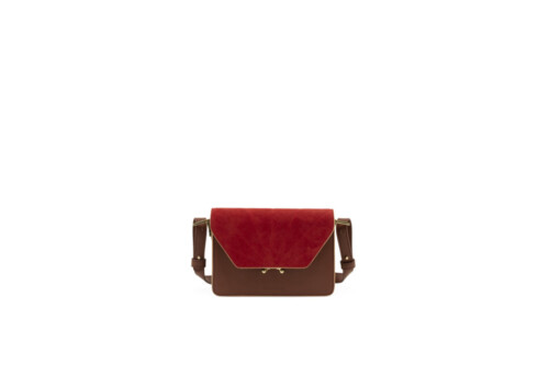 Handtas- Sticky Sis Club - Faded burgundy + poppy red - front