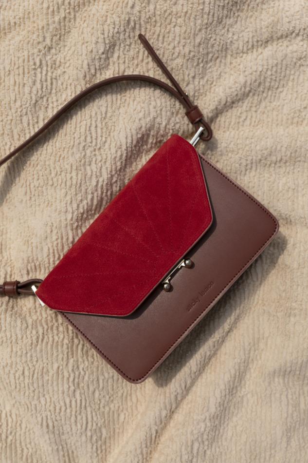 Handtas - The Sticky Sis club - faded burgundy + poppy red