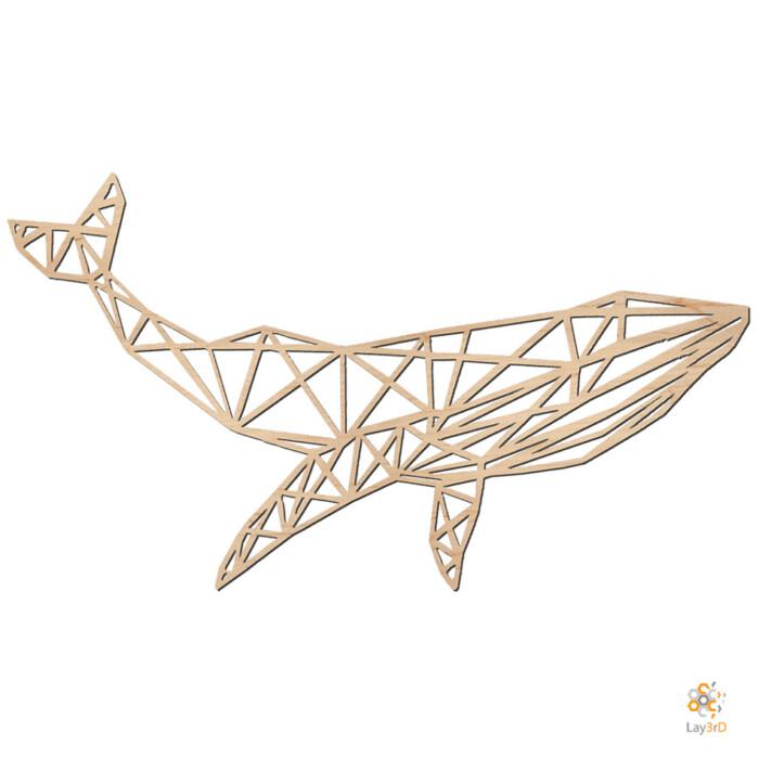 Houten wanddecoratie walvis berk