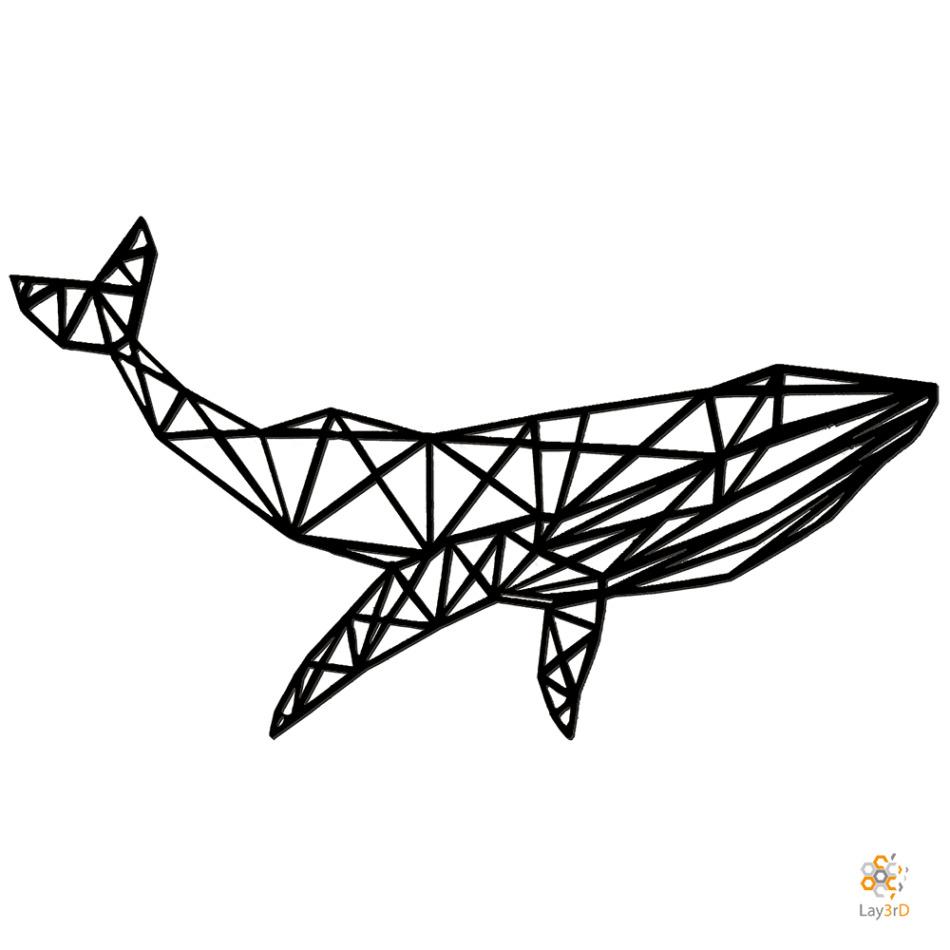 Houten wanddecoratie walvis zwart