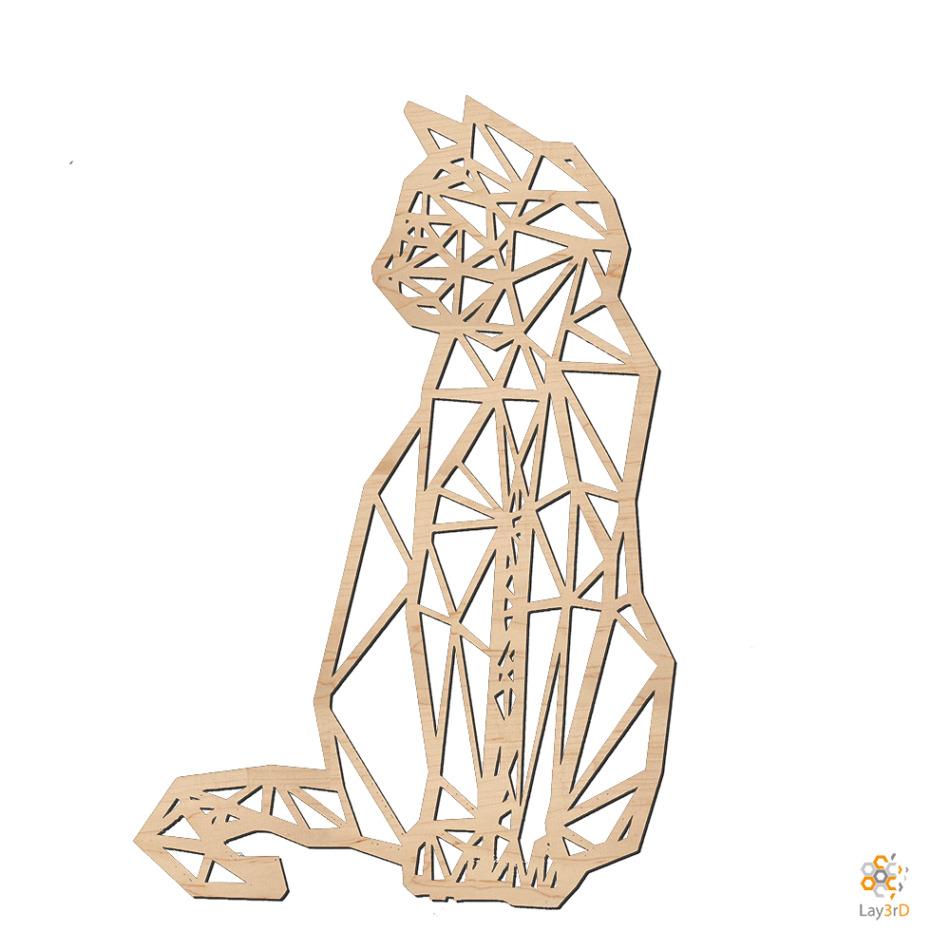 Houten wanddecoratie zittende kat berk