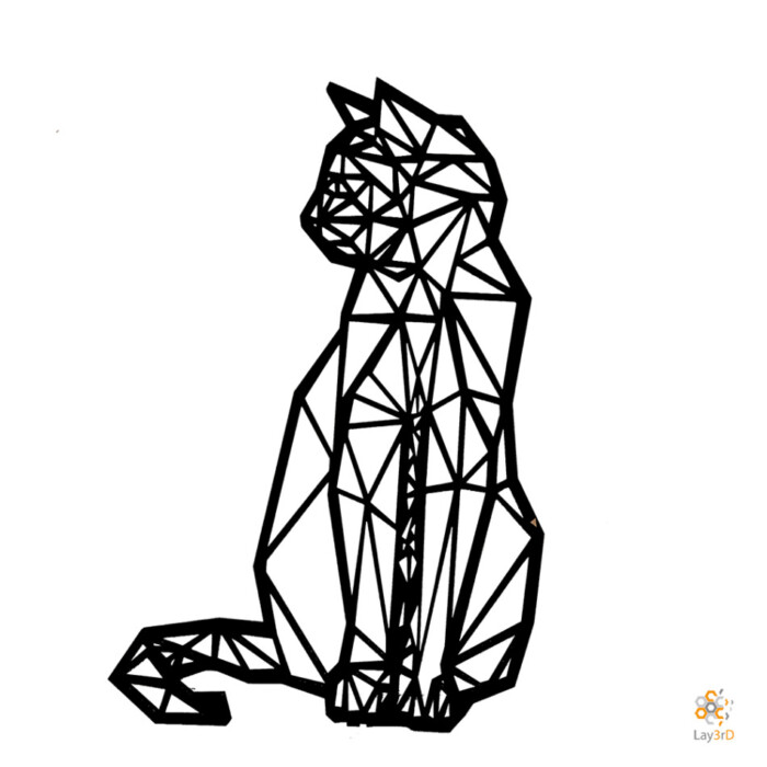 Houten wanddecoratie zittende kat zwart